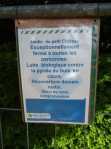 Notice at the garden of the Petit Chateau