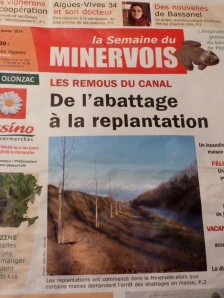 Local Minervois newspaper (La Semaine du Minervois) Jeudi 30 Janvier 2014