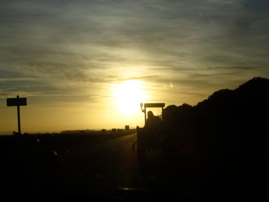 Vineyard tractor early morning, near Caunes-Minervois (February 2014)