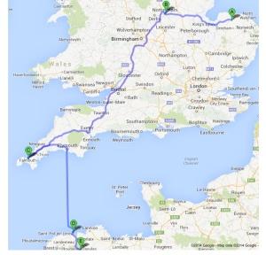 The journey: from Pensthorpe Wildlife & Gardens via STAA Ltd. to Roscoff Exotic Gardens.