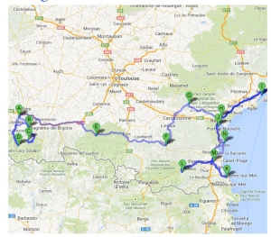The journey: from Bagneres de Bigorre to Montpellier via the Pyrenees and Collioure beach.