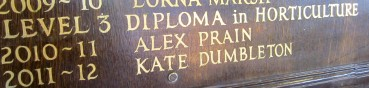 Kate's name on the panels at Brackenhurst, Nottingham Trent University